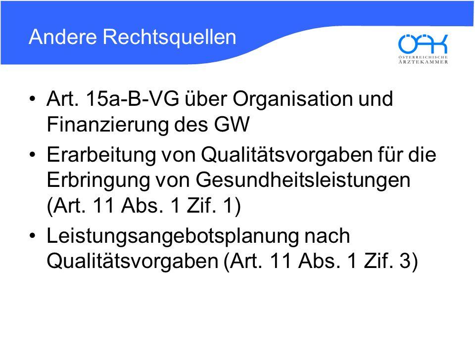 Andere Rechtsquellen Art. 15a-B-VG über Organisation und Finanzierung des GW.