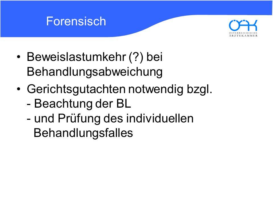 Forensisch Beweislastumkehr ( ) bei Behandlungsabweichung.