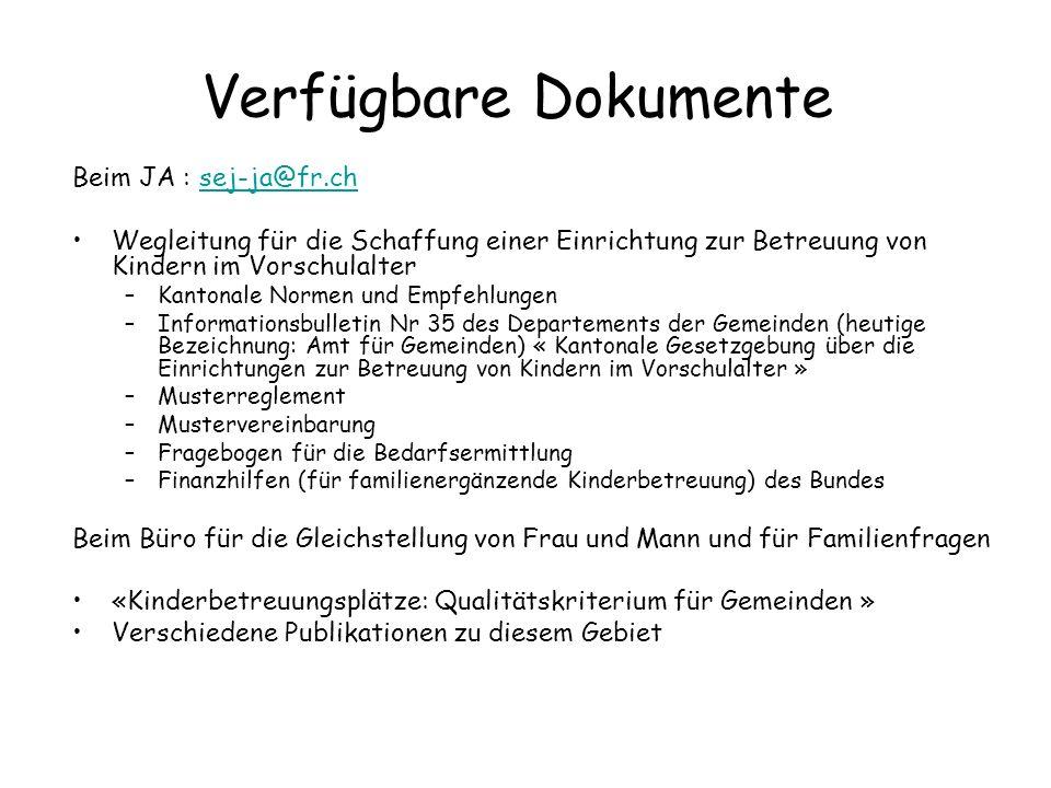 Verfügbare Dokumente Beim JA : sej-ja@fr.ch