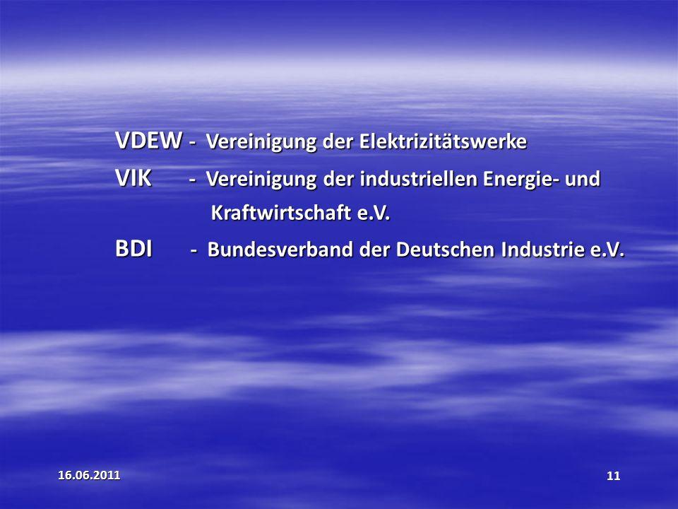 VDEW - Vereinigung der Elektrizitätswerke