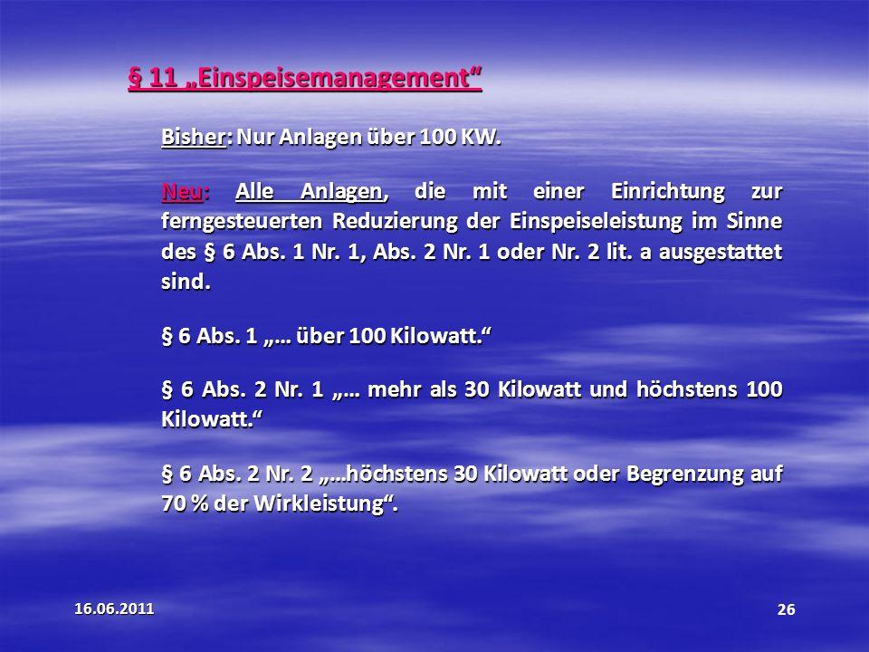"""§ 11 """"Einspeisemanagement"""
