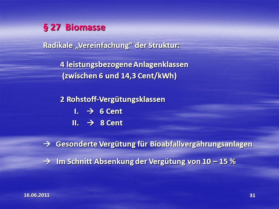 """§ 27 Biomasse Radikale """"Vereinfachung der Struktur:"""