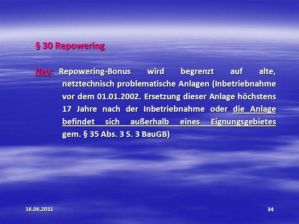 § 30 Repowering