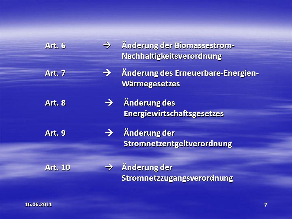 Art. 6  Änderung der Biomassestrom- Nachhaltigkeitsverordnung