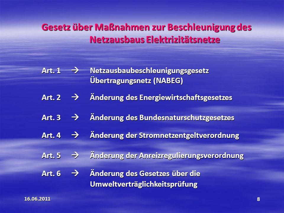 Gesetz über Maßnahmen zur Beschleunigung des Netzausbaus Elektrizitätsnetze