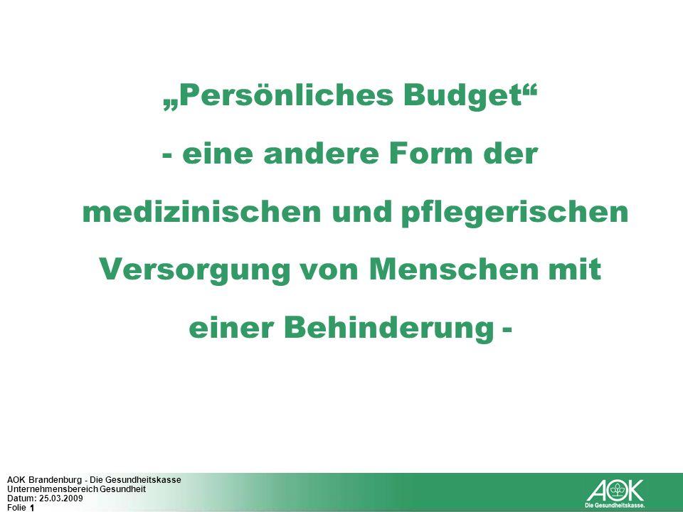 """""""Persönliches Budget - eine andere Form der medizinischen und pflegerischen Versorgung von Menschen mit einer Behinderung -"""