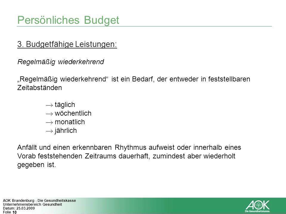 Persönliches Budget 3. Budgetfähige Leistungen: