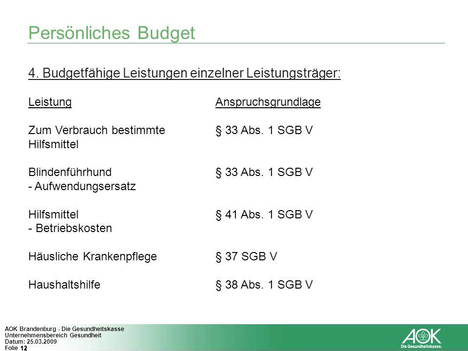 Persönliches Budget 4. Budgetfähige Leistungen einzelner Leistungsträger: Leistung Anspruchsgrundlage.