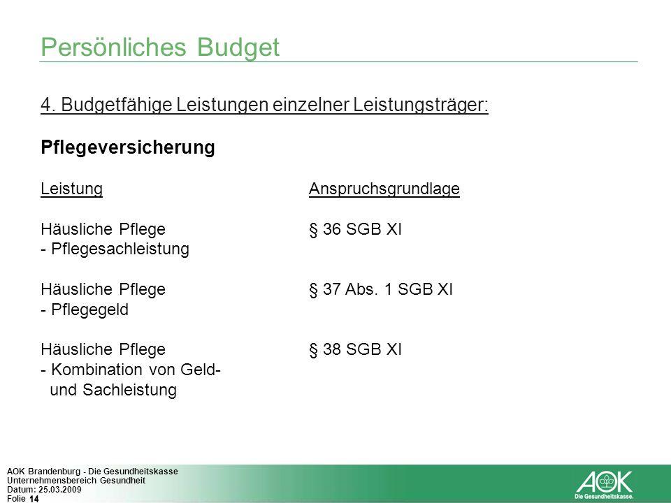 Persönliches Budget 4. Budgetfähige Leistungen einzelner Leistungsträger: Pflegeversicherung. Leistung Anspruchsgrundlage.