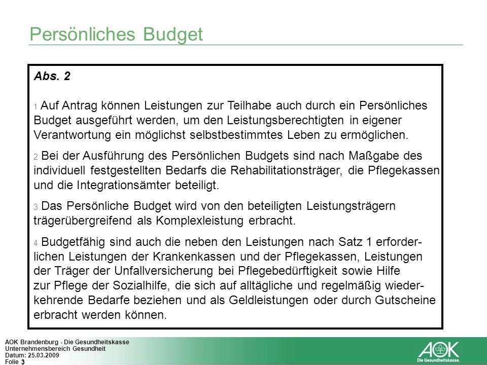 Persönliches Budget Abs. 2