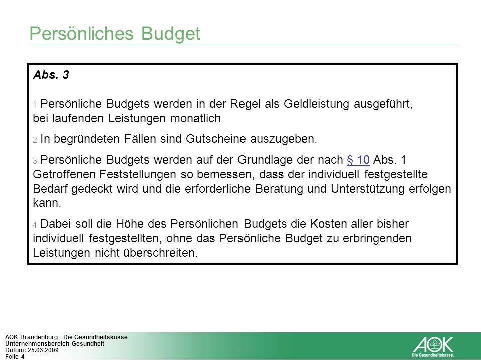 Persönliches Budget Abs. 3 bei laufenden Leistungen monatlich.