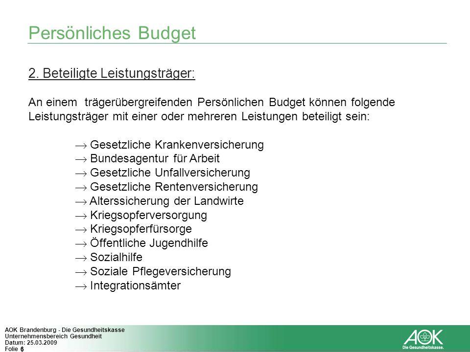 Persönliches Budget 2. Beteiligte Leistungsträger:
