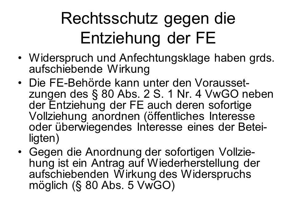 Rechtsschutz gegen die Entziehung der FE