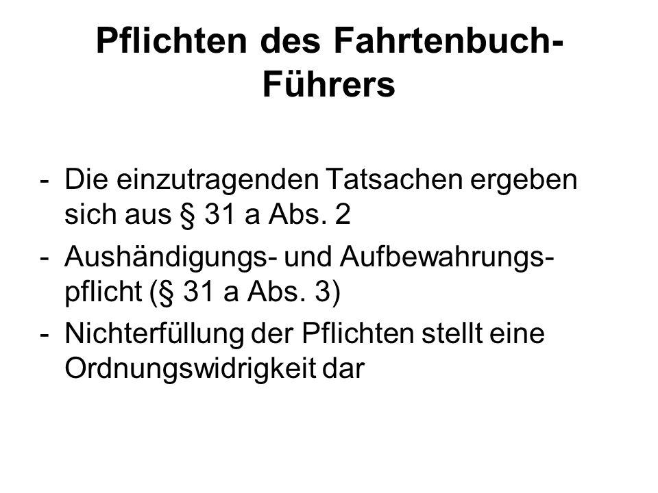 Pflichten des Fahrtenbuch-Führers