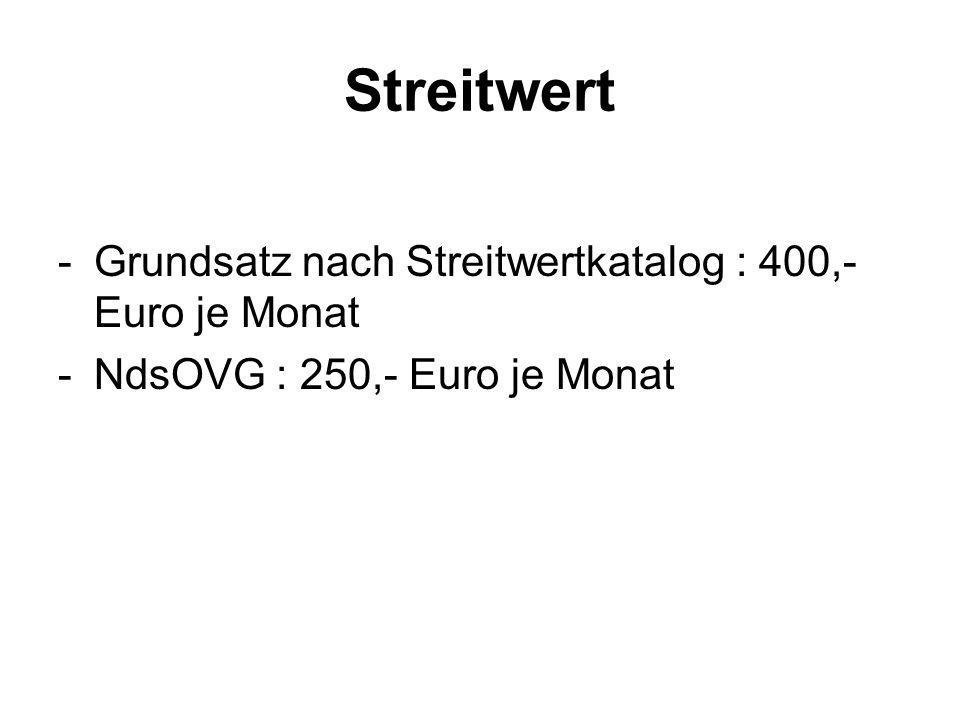 Streitwert Grundsatz nach Streitwertkatalog : 400,- Euro je Monat
