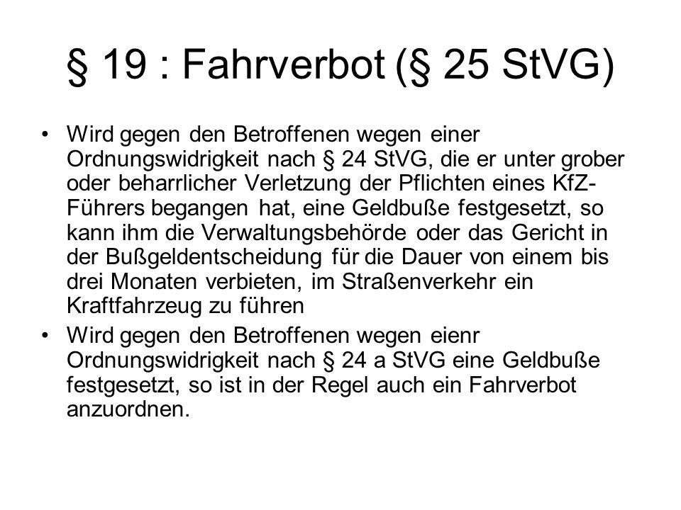 § 19 : Fahrverbot (§ 25 StVG)