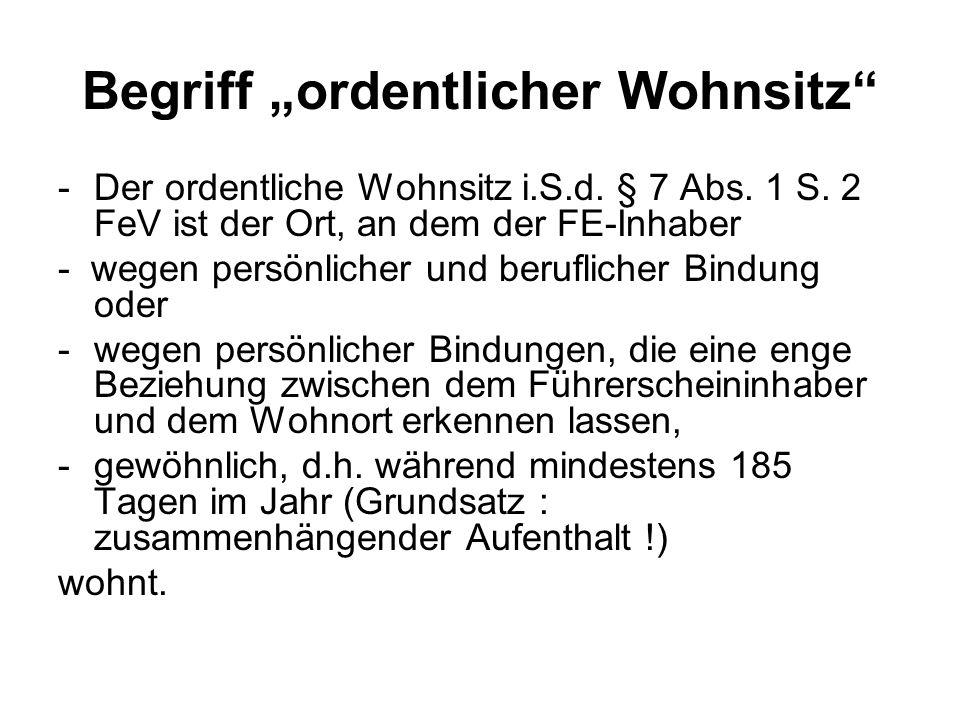 """Begriff """"ordentlicher Wohnsitz"""