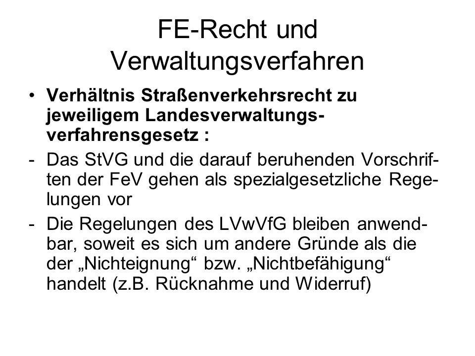 FE-Recht und Verwaltungsverfahren