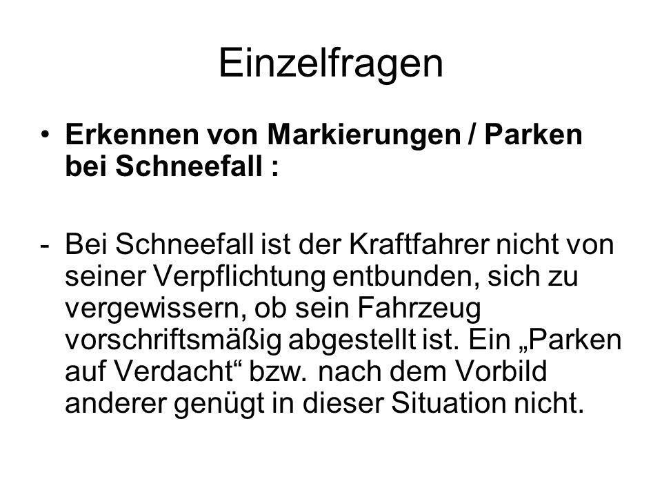 Einzelfragen Erkennen von Markierungen / Parken bei Schneefall :
