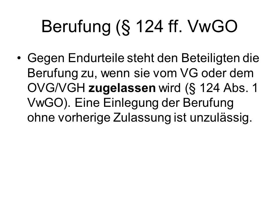 Berufung (§ 124 ff. VwGO