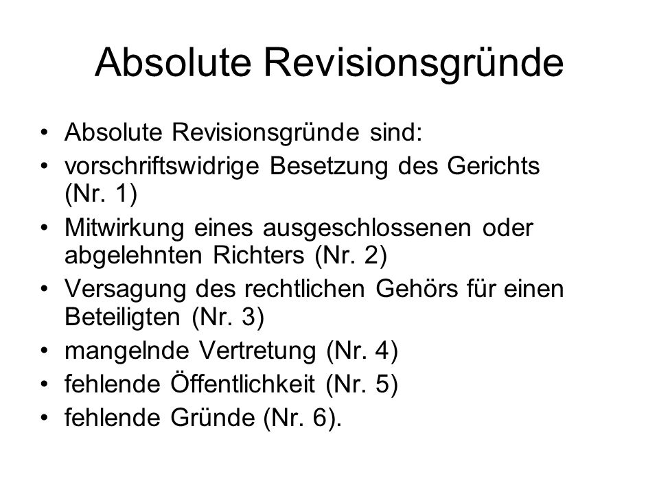 Absolute Revisionsgründe