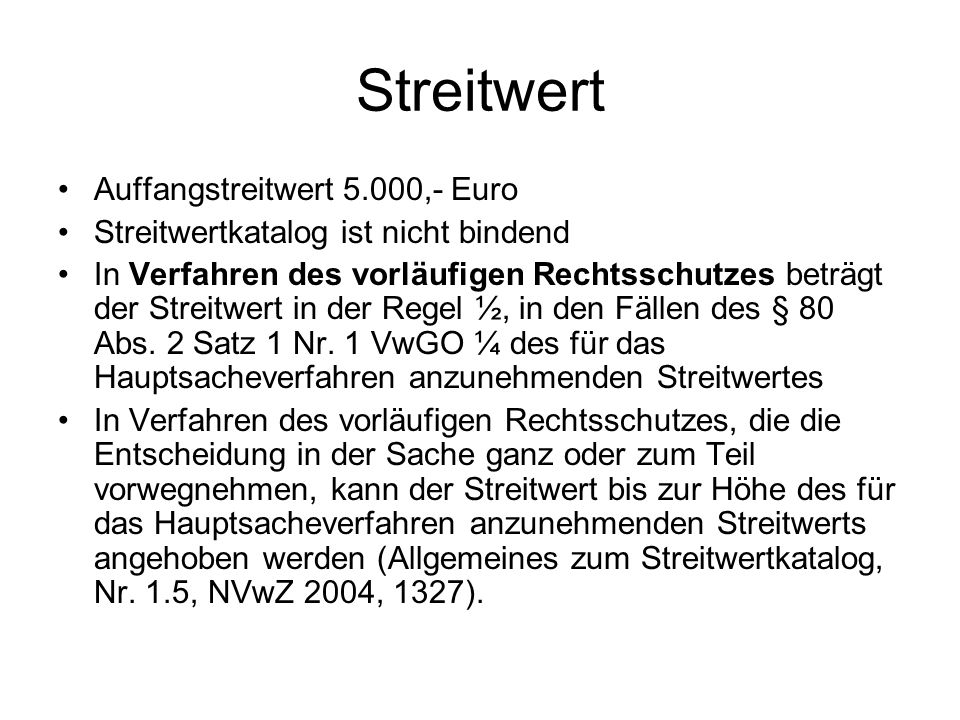 Streitwert Auffangstreitwert 5.000,- Euro