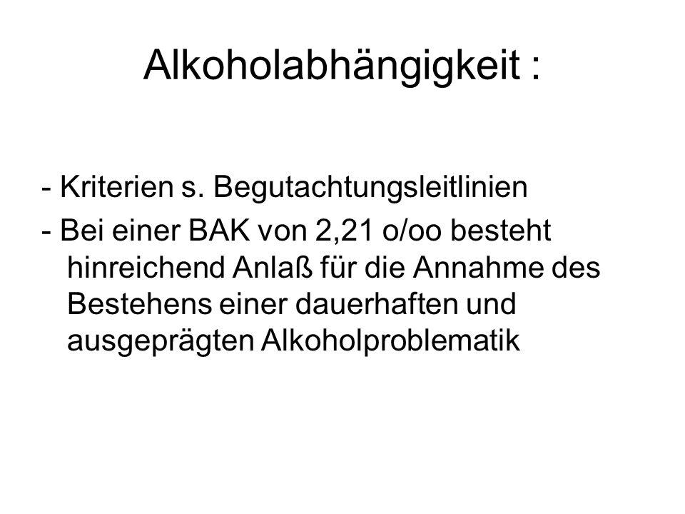 Alkoholabhängigkeit :
