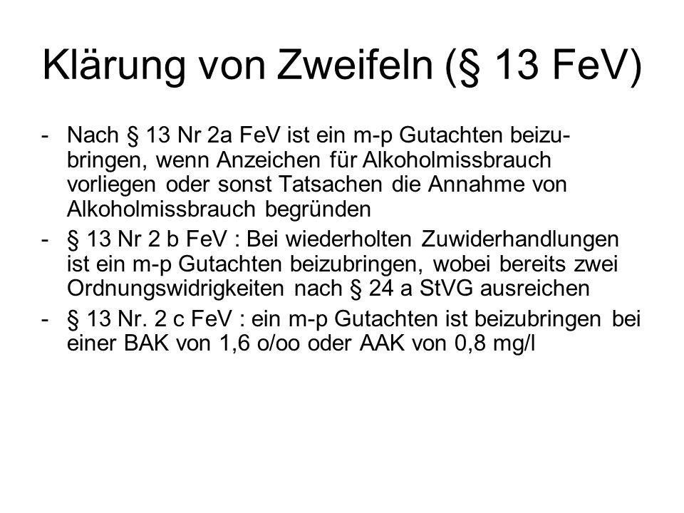 Klärung von Zweifeln (§ 13 FeV)
