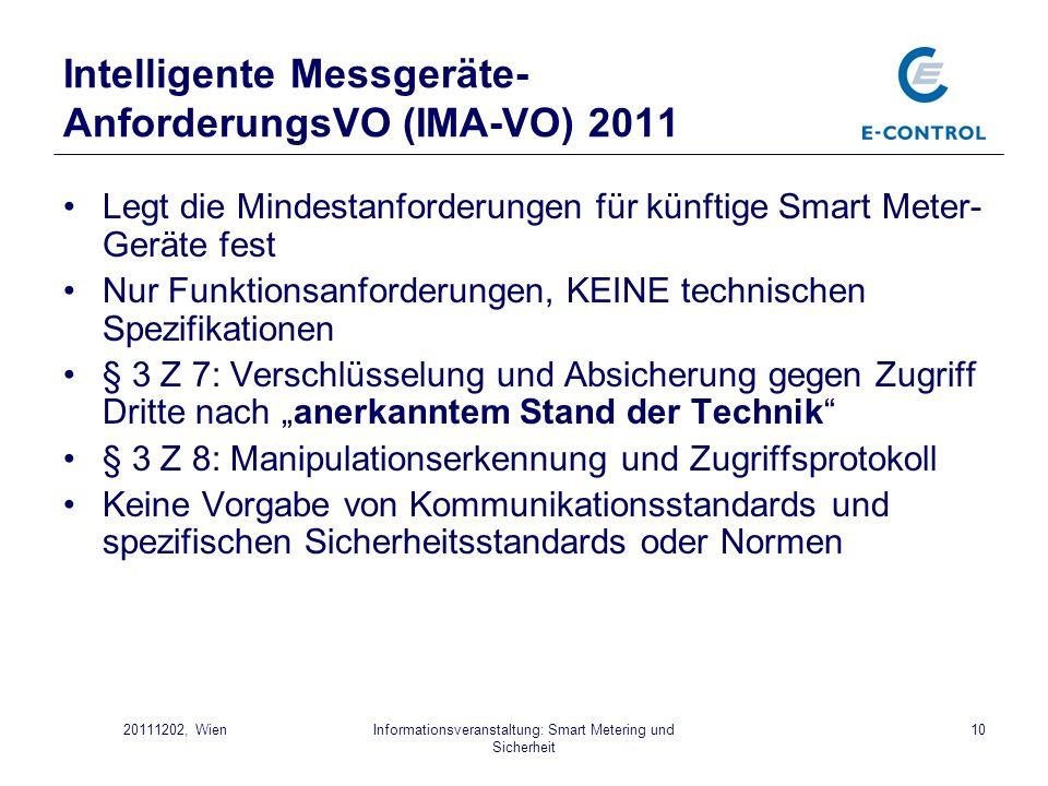 Intelligente Messgeräte-AnforderungsVO (IMA-VO) 2011