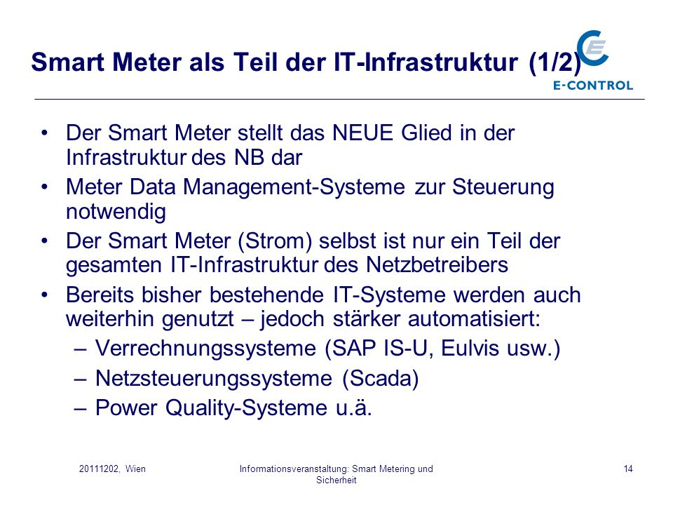 Smart Meter als Teil der IT-Infrastruktur (1/2)