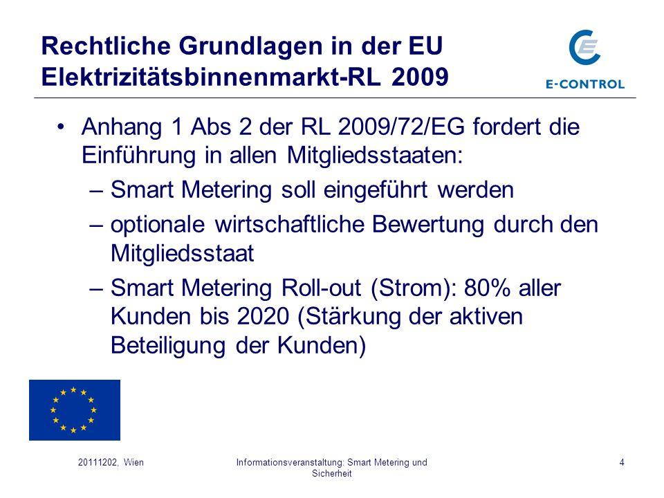 Rechtliche Grundlagen in der EU Elektrizitätsbinnenmarkt-RL 2009