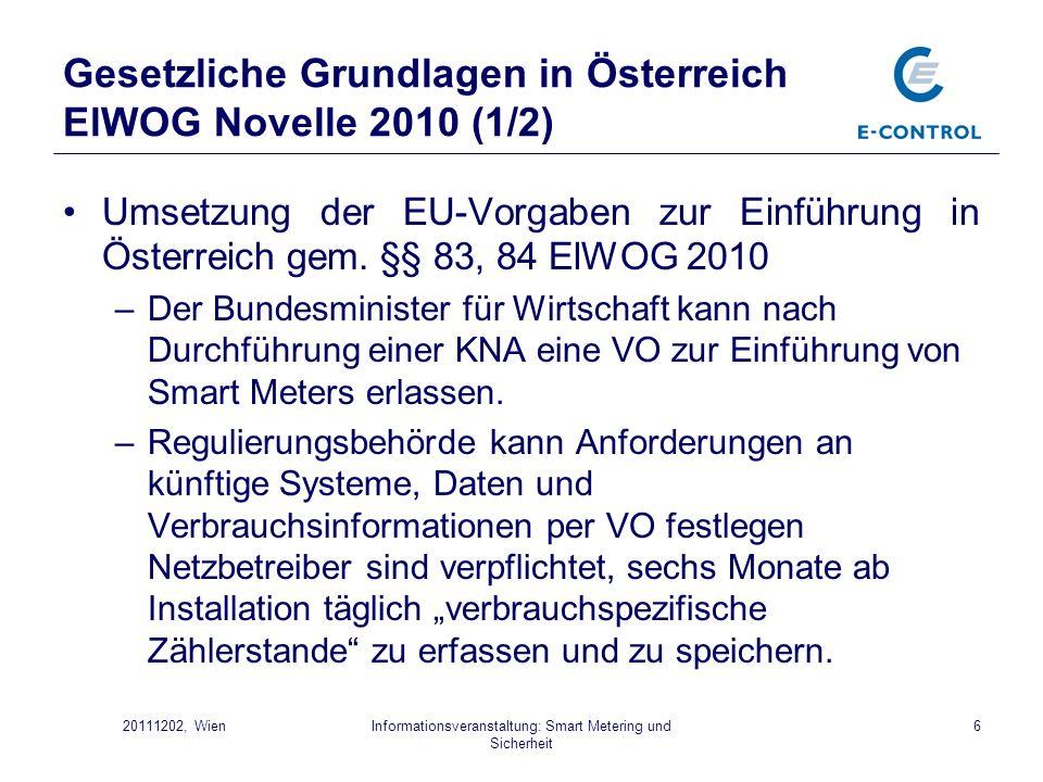 Gesetzliche Grundlagen in Österreich ElWOG Novelle 2010 (1/2)