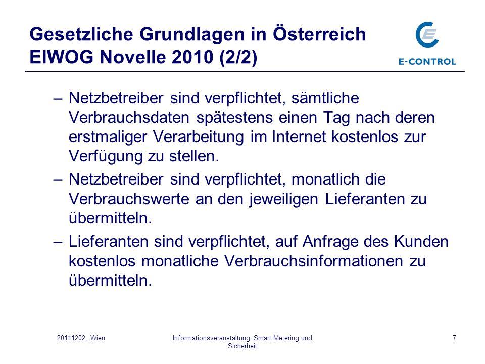 Gesetzliche Grundlagen in Österreich ElWOG Novelle 2010 (2/2)