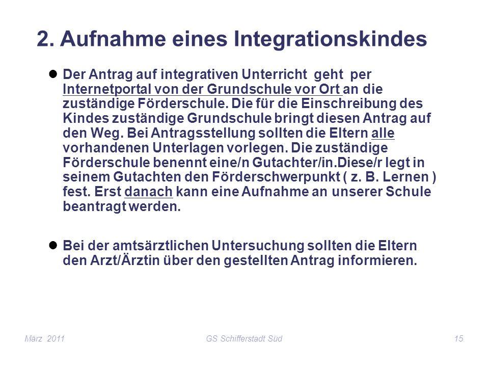 2. Aufnahme eines Integrationskindes