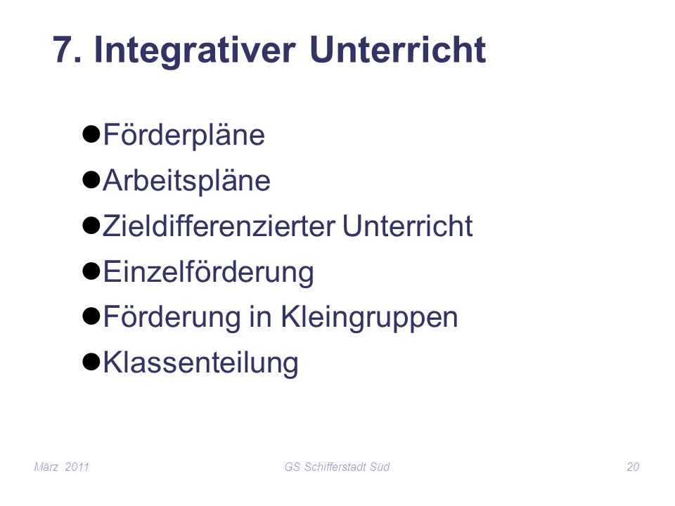 7. Integrativer Unterricht