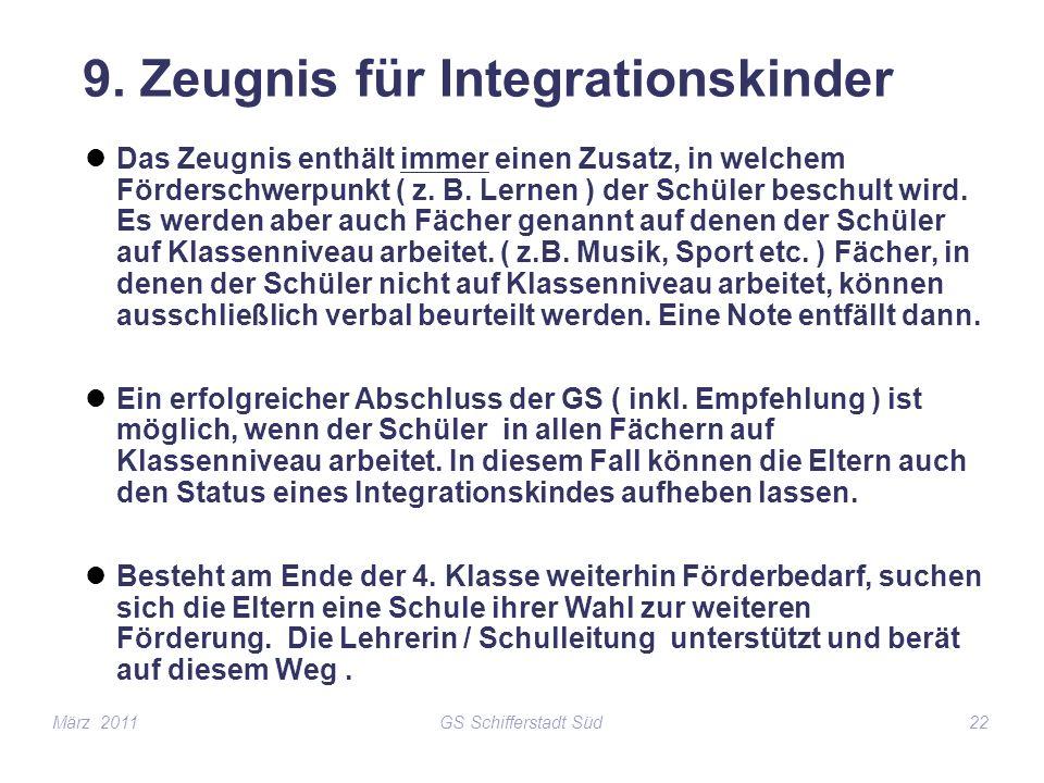 9. Zeugnis für Integrationskinder