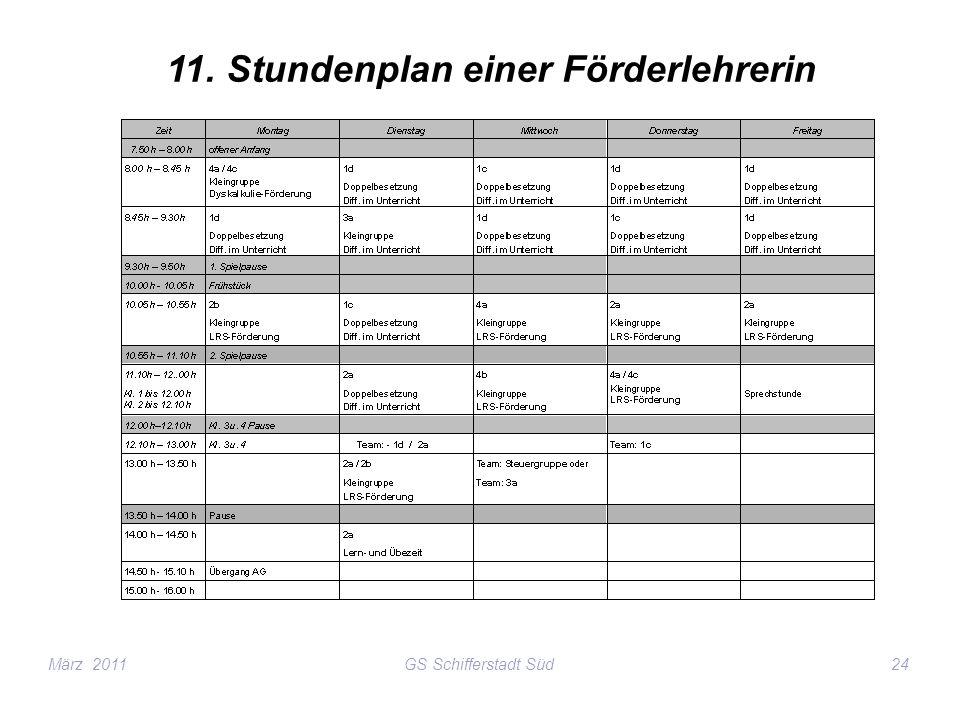 11. Stundenplan einer Förderlehrerin