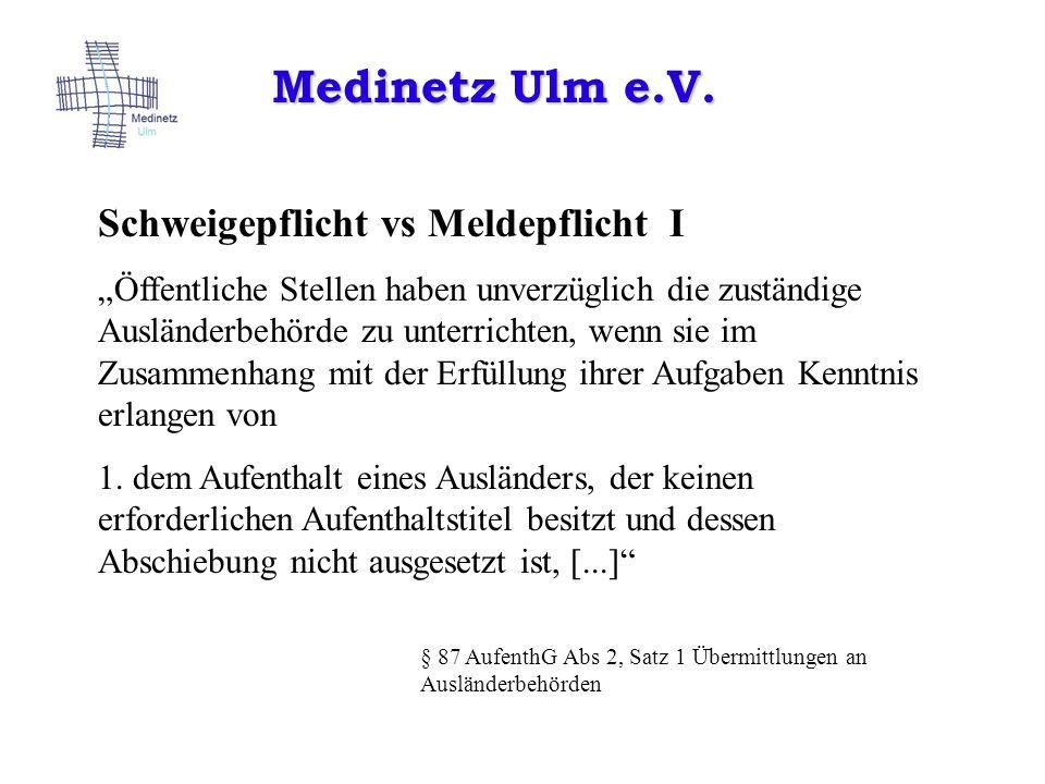 Medinetz Ulm e.V. Schweigepflicht vs Meldepflicht I