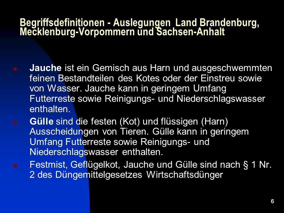 Begriffsdefinitionen - Auslegungen Land Brandenburg, Mecklenburg-Vorpommern und Sachsen-Anhalt
