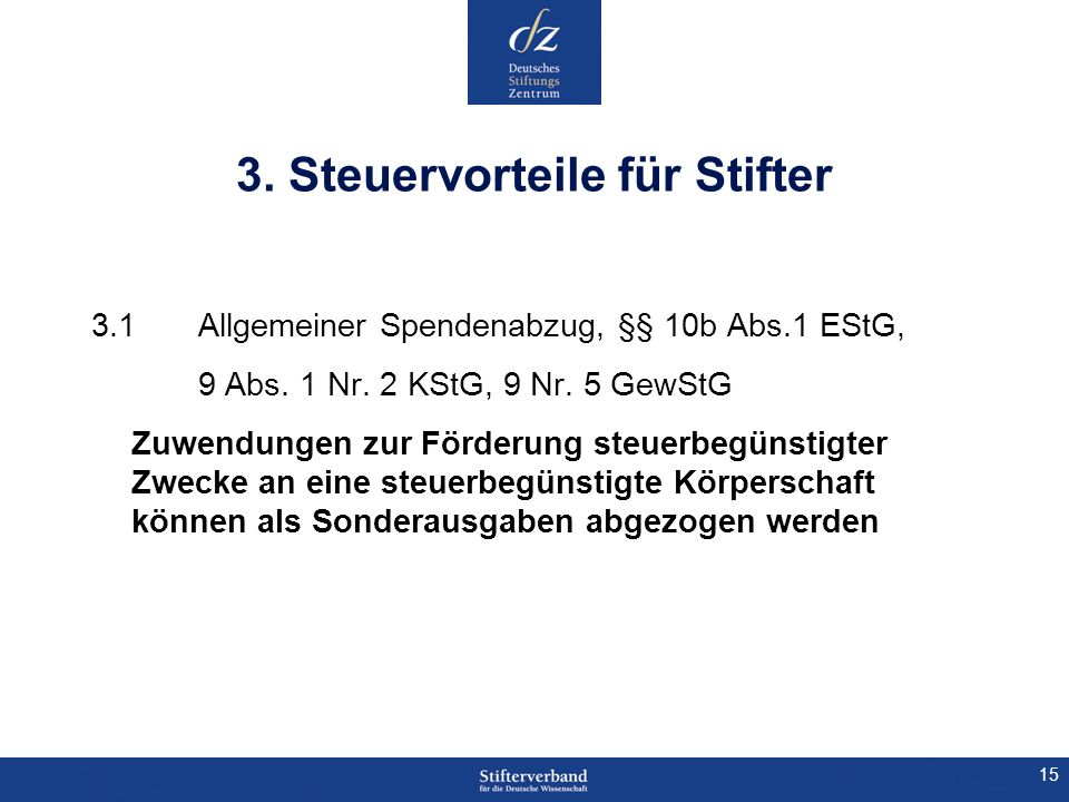3. Steuervorteile für Stifter