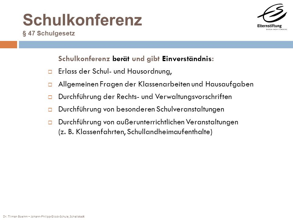 Schulkonferenz § 47 Schulgesetz