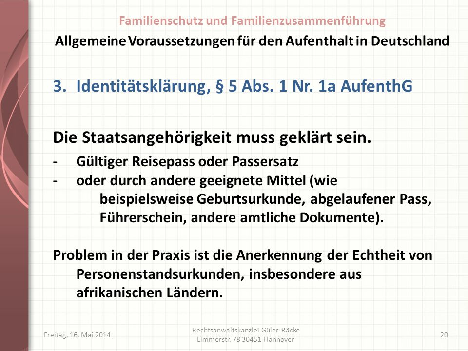 Identitätsklärung, § 5 Abs. 1 Nr. 1a AufenthG