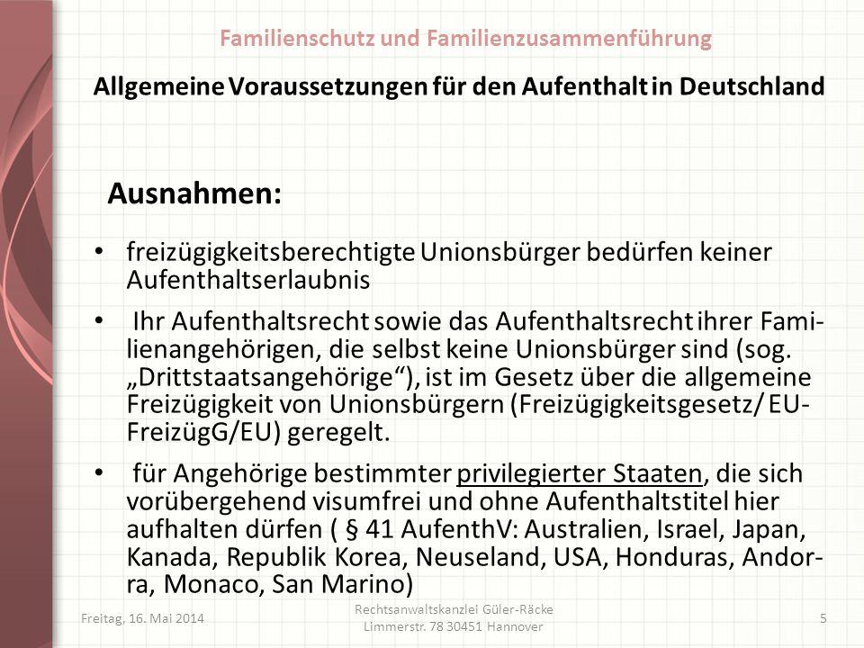 Allgemeine Voraussetzungen für den Aufenthalt in Deutschland
