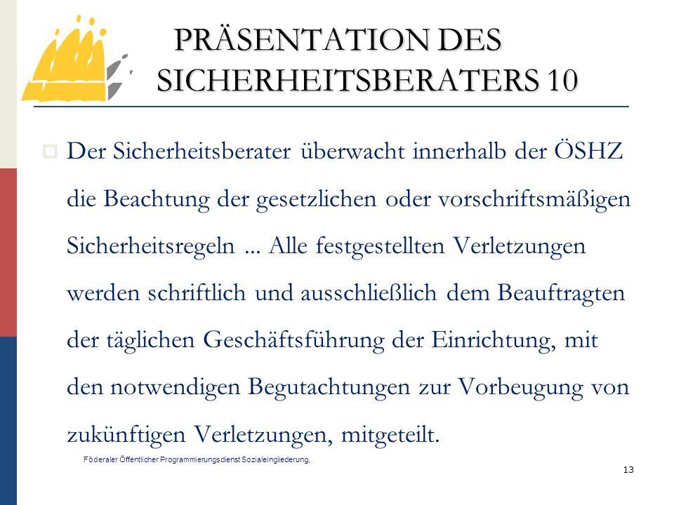 PRÄSENTATION DES SICHERHEITSBERATERS 10