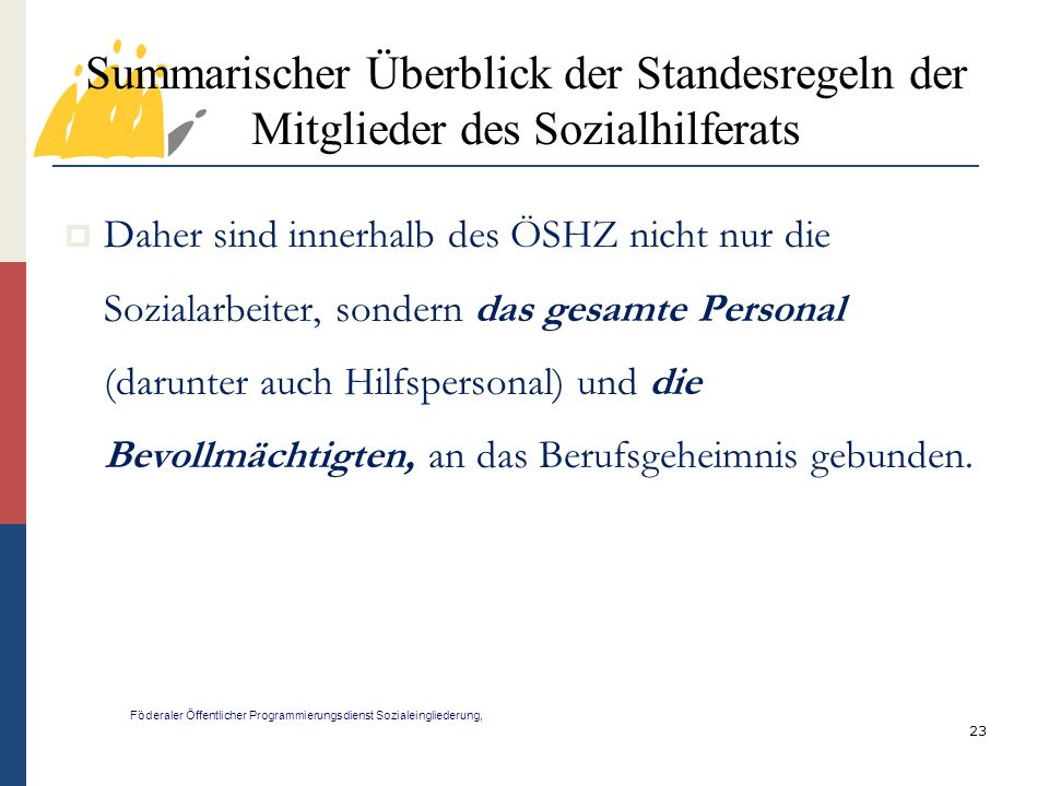 Summarischer Überblick der Standesregeln der Mitglieder des Sozialhilferats