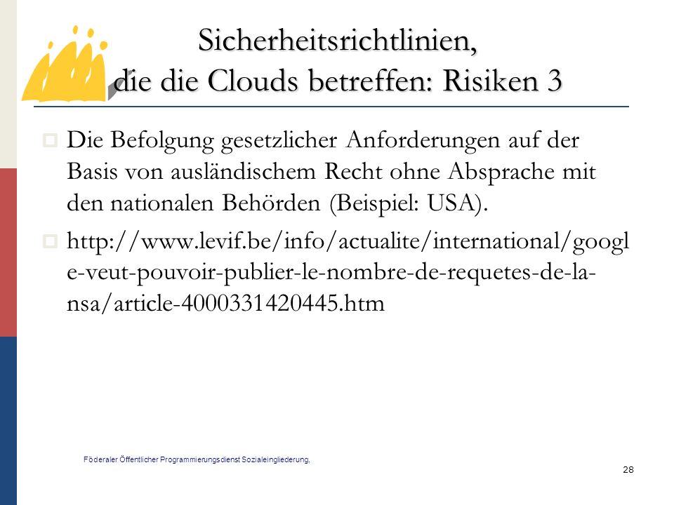Sicherheitsrichtlinien, die die Clouds betreffen: Risiken 3