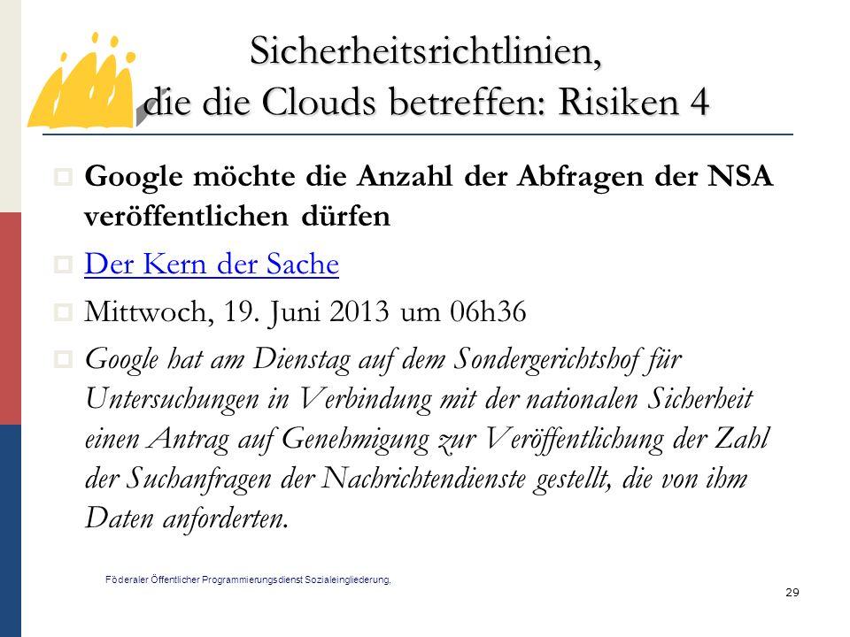 Sicherheitsrichtlinien, die die Clouds betreffen: Risiken 4