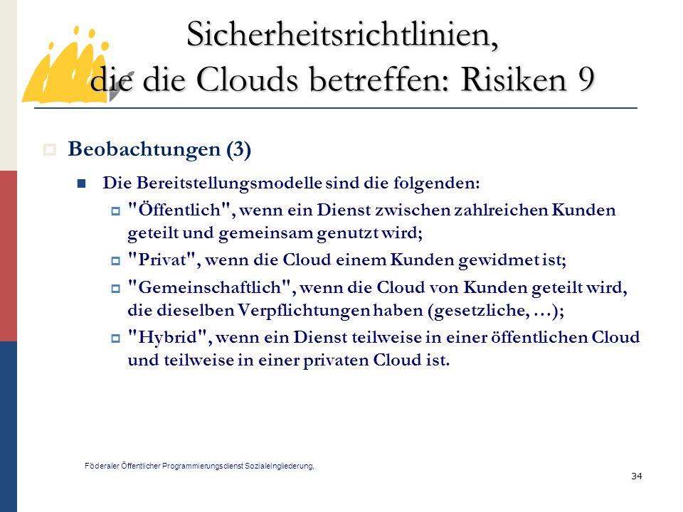 Sicherheitsrichtlinien, die die Clouds betreffen: Risiken 9