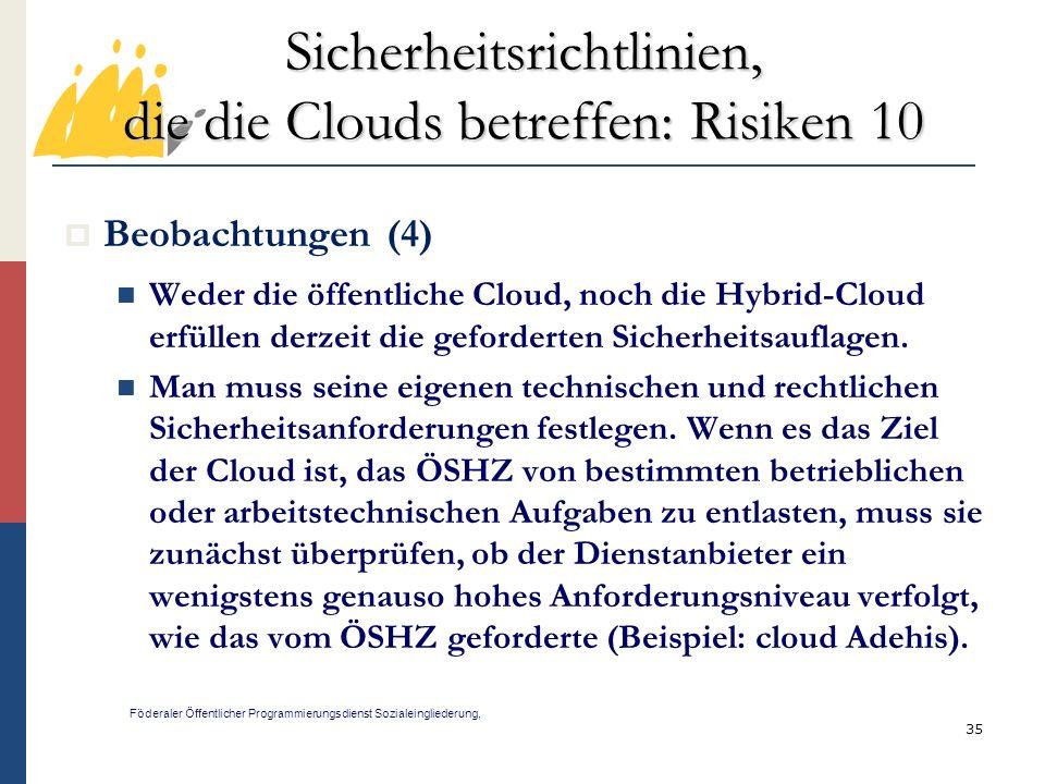 Sicherheitsrichtlinien, die die Clouds betreffen: Risiken 10