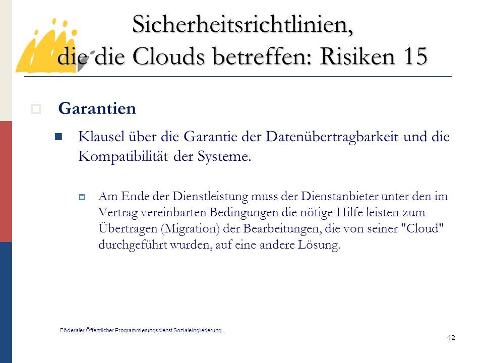 Sicherheitsrichtlinien, die die Clouds betreffen: Risiken 15